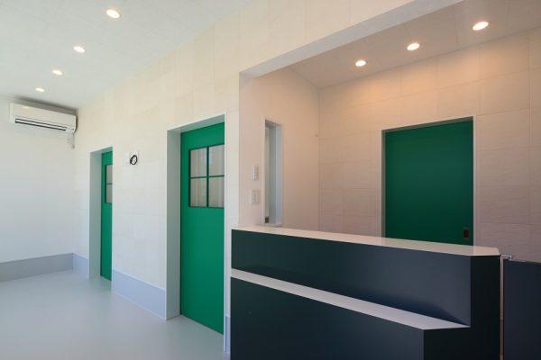 ドアの色はアクセントの効いた緑で遊び心