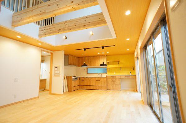 キッチンはあえて壁付のL型キッチンで、空間を広く。